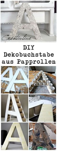 DIY Deko-Buchstabe – CreativLIVE DIY Deko-Buchstabe – CreativLIVE,hochzeit DIY Dekobuchstaben aus Papprollen Related posts:Small space idea for the living room! A skinny table with a built-in outlet for . - Diy home. Cardboard Rolls, Cardboard Crafts, Paper Crafts, Cardboard Letters, 3d Letters, Alphabet Letters, Wood Crafts, Diy Simple, Easy Diy