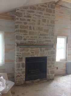 Whitewash Stone Fireplace, Cottage Fireplace, Fireplace Update, Home Fireplace, Fireplace Remodel, Living Room With Fireplace, Fireplace Design, Stone Fireplace Pictures, Modern Stone Fireplace