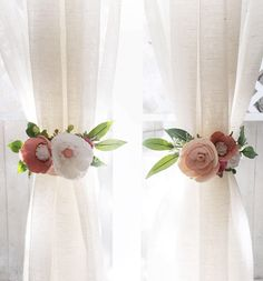 Curtain Tie Backs (SET OF 2) || Felt Flowers || Felt Curtain Tie Backs || Nursery Decor || Rifle Paper Co || Curtains || Floral Nursery by alisonmichel on Etsy https://www.etsy.com/listing/573673042/curtain-tie-backs-set-of-2-felt-flowers