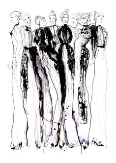 ❋ Style ❋ // // Watercolour fashion illustration, chic fashion sketch // Fashion illustration - stylish monochromatic fashion sketch of Phoebe English dresses // Eleanor Shenton Art And Illustration, Illustration Techniques, Fashion Illustration Sketches, Fashion Sketches, Silhouette Mode, Mode Collage, Fashion Artwork, Fashion Figures, Watercolor Fashion