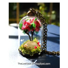 Plant necklace Raw Rose Quartz pendant Red flower by phoenixchiu