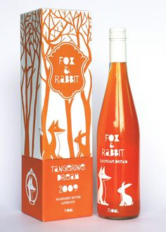 Fox and Rabbit is a fruity wine apéritif marketed for dinner parties and sophisticated get-togethers. Design by Ting Sia (Fruity Liquor Bottle)