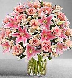 Pink Perfection™- pink roses, lilies, alstroemeria, limonium and salal $99.99- $149.99