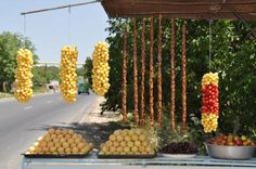 A roadside display of fruit - one of many on the Yerevan to Oshagan highway.