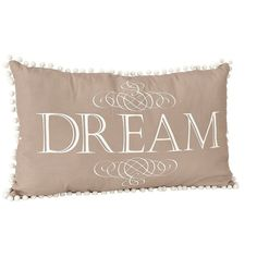 Dream Pom Pom Accent Pillow ($16) ❤ liked on Polyvore featuring home, home decor, throw pillows, bohemian throw pillows, boho throw pillows, white toss pillows, boho home decor and quote throw pillows