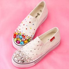 2Cm Womens Low Heel Canvas Slip On Loafers Athletic Casual Shoes Rhinestones Hot