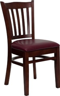 Commercial Quality Vertical Slat Back Mahogany Wood Finish Restaurant Chair with Burgundy Vinyl Seat