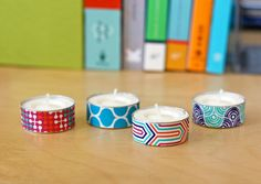 washi tape tealights | How About Orange