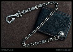 Steel Flame - Sterling Curb Chain and KK Wallet Setup