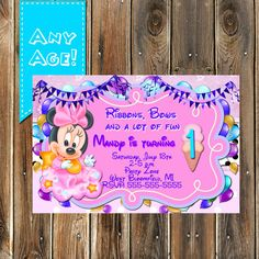 First Birthday Minnie Mouse Invitation BABY by MyPrintableParty