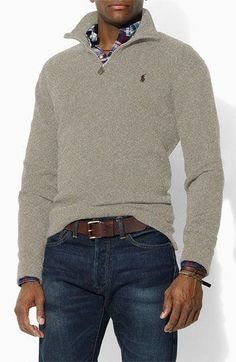 Dear Stitch Fix, Love the v-neck sweater with zipper. Mens Fashion Sweaters, Men Sweater, Mens Sweater Outfits, Ralph Lauren Pullover, Polo Ralph Lauren, Man Dressing Style, Half Zip Sweaters, Herren Outfit, Half Zip Pullover