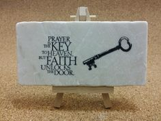 Faith quotes hand stamped on tumbled Botocino marble! www.marbledinspirations.ca