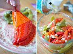 Poivrons marinés à l'huile d'olive, ail et basilic