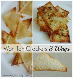 My new food obsession are won ton wrappers.I loved them raw as a kid and I'm finding them very helpful around the kitchen now. Wrap Recipes, Sweet Recipes, Won Ton Wrapper Recipes, Easy Recipes, Asian Recipes, High Protein Bariatric Recipes, Baked Wontons, Wonton Wraps, Homemade Crackers