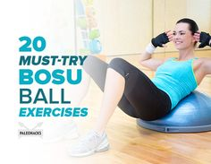 Because of their uneven surface, a BOSU ball is ideal for incorporating balance challenges to your workouts. Here are 20 must-try BOSU ball exercises! Bosu Workout, Workout Fitness, Bosu Ball, Body Weight, Weight Loss, Bodybuilding, Psoas Muscle, Senior Fitness, Flexibility Workout