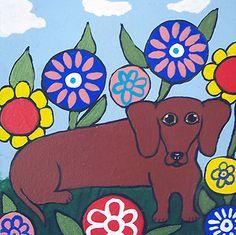 DACHSHUND Puppy HOT Dog FLOWER GARDEN Weiner Doxie Art Original Painting ELLISON