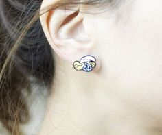 Cute Set of 3 Smurfs village stud earrings. Papa Smurf earrings, Smurf