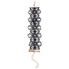 Black Floral Lace Hollow Out Wide Bracelet (300 RUB) ❤ liked on Polyvore featuring jewelry, bracelets, black, lace jewelry, floral jewelry and wide bangle