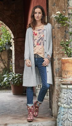 Julep Duster - airy duster with pointelle patterns with fine details.