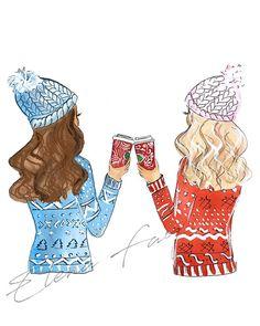 Best Friend Gift Fashion Illustration Print Fashion Print