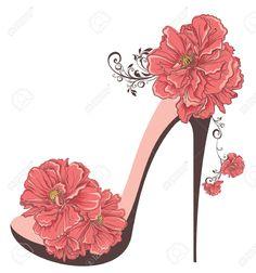 zapatillas con flores dibujo - Buscar con Google