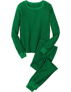 Organic Cotton thermal sets in solid green or solid red. They work for Christmas and beyond.