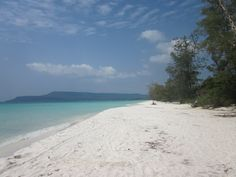 White long beach on the westside of Koh Rong Island in Cambodia