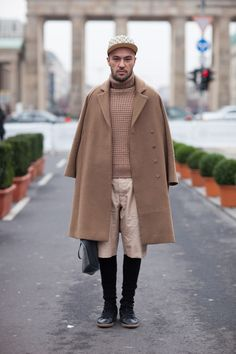 Sophisticated modern version of the classic plus-fours look, with shorts worn over contrasting leggings at Berlin Fashion Week.