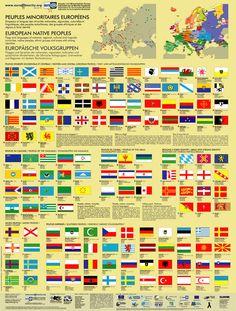Poster drapeaux des peuples minoritaires européens / Flags of European minority peoples