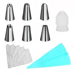 Piping Tips YUYIKES Cake Decorating Supplies 18piece Cookies Cupcake Decorating Kits Frosting Icing Tips Baking Tools with 10 Disposable piping bag and 1 Coupler and 1 Silicone Pastry Icing Bags ** Learn more by visiting the image link.