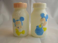 Vintage Evenflo Mickey Mouse baby bottles.