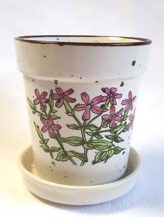 Vintage Herb Pot Japan Small Speckled Pink Wild Flower Ceramic Attached Saucer #herbpot #flowerpot