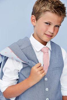 Blue Waistcoat, White Shirt and Pink Tie Set