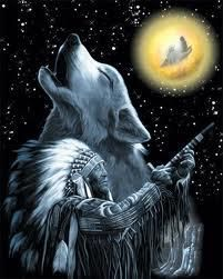 A Native American Indian and his spirit animal guide. Native American Religion, Native American Wolf, Native American Pictures, Native American Artwork, American Indian Art, Native American History, American Indians, American Spirit, Indian Wolf