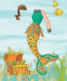 Mermaid Paper Doll Dover Publications-- she looks like she's from the 80's! Outfit 2