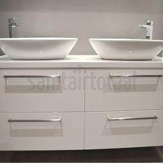 Landelijk badkamermeubel, badkamer waskom, waskommen, wit, badkamer ...