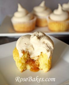 Caramel Filled Cupcakes with Whipped Caramel Frosting {Recipe!}