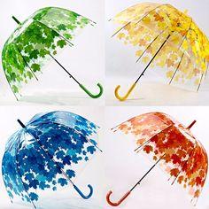 Creative Colorful Parasol Leaves Umbrella Transparent Mushroom Arch Tree Fresh PVC Bubble Rain Gear at Banggood