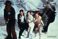 Star Wars: Episode V - The Empire Strikes Back promo shot of Harrison Ford, Mark Hamill, Carrie Fisher & Peter Mayhew
