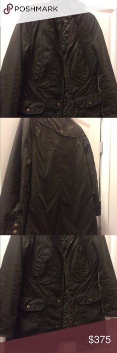 Barbour Squire Waxed Jacket Less than one year old Barbour jacket. Great condition! Olive color. US size 6 Barbour Jackets & Coats
