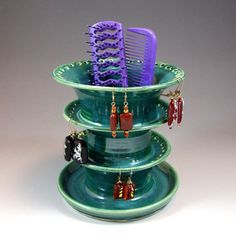 MEGA Earring Holder TRI LEVEL with Emerald Peacock Glaze- Pantone Color of the Year- Thrown on Potter's Wheel