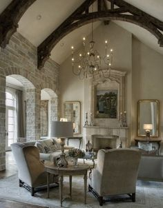 Beautiful Living Room Designer Kara Childress Architectural Consultant Sara West The Stone Walls And Arched Wood Beam Ceiling Not To Mention