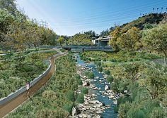 The Corps' vision of a restored Arroyo at its confluence with the LA River. (Photo - US Army Corps of Engineers). Landscape Plane, What Is Landscape, Linear Park, Sport Park, Army Corps Of Engineers, Landscape Architecture Design, Built Environment, Garden Bridge, Paths