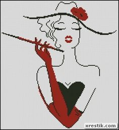 Lady with a cigar scheme download girl monochrome embroidery