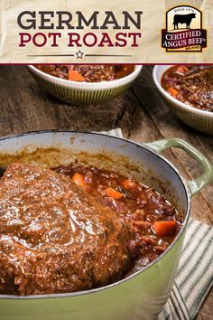 German Pot Roast is a classic beef dinner made with Certified Angus Beef ®️ chuck roast, red cabbage, onions, carrots, thyme and bay leaves! Chuck Roast Recipes, Best Beef Recipes, Pot Roast Recipes, Beef Recipes For Dinner, Meat Recipes, Cooker Recipes, German Food Recipes, German Recipes Dinner, Best German Food