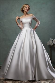 white satin wedding dress Picture - More Detailed Picture about 2017 Honey Qiao White Satin Wedding Dress Ball Gown Illusion Long Sleeves Off the Shoulder Bridal Gowns Cap Sleeves Vestidos Picture in Wedding Dresses from Honey Qiao Wedding Gowns Store Popular Wedding Dresses, 2016 Wedding Dresses, Bridal Dresses, Wedding Gowns, Dresses 2016, Prom Dresses, Tulle Wedding, Wedding White, Short Dresses