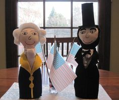 Presidents' Day Centerpiece (George Washington and Abe Lincoln). Bodies are salad dressing bottles, and the rest is scrap from other misguided projects. Step away from the glue gun...