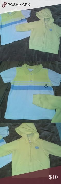 Gymboree polo shirt and sweat jacket. 6 to 12 mont Yellow sweat jacket plus white polo shirt with yellow and blue stripes Gymboree Shirts & Tops
