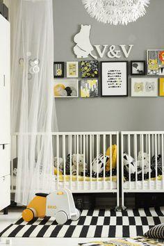 black white yellow modern twin nursery