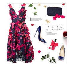 """""""Pretty Dress"""" by magdafunk ❤ liked on Polyvore featuring Notte by Marchesa, Christian Louboutin, ZoÃ« Chicco, Van Cleef & Arpels, florals, floraldress, navyandpink, dreamydresses and appliquedress"""